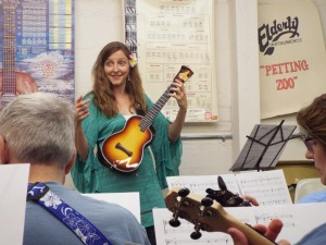 Sarah with her custom DaSilva concert uke